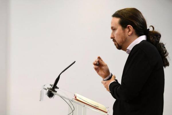 El secretario general de Podemos, Pablo Iglesias, en la rueda de...