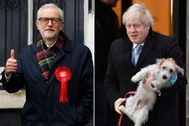 Los candidatos Jeremy Corbyn (izq) y Boris Johnson.