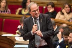 El presidente catalán Quim Torra, en la sesión de control a la Generalitat, este miércoles, en el Parlament.