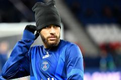 Neymar, el miércoles, minutos antes del partido ante el Galatasaray en París.