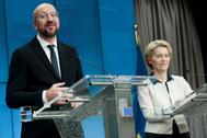 Charles Michel y Ursula Von der Leyen este viernes en rueda de prensa.