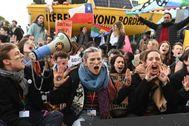 Manifestación, ayer, última jornada de la Cumbre del Clima.