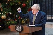 El 'premier' británico pronuncia un discurso en el número 10 de Downing Street.