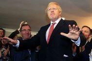 Boris Johnson durante su visita a Sedgefield.