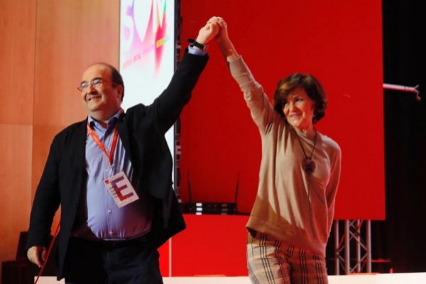 El líder del PSC, Miquel Iceta, y la vicepresidenta del Gobierno en...