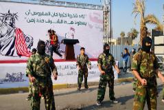 Uno de los momentos de la manifestación de hoy, en Bagdad.