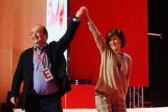El líder del PSC, Miquel Iceta, y la vicepresidenta del Gobierno en funciones, Carmen Calvo, este sábado, en Barcelona.