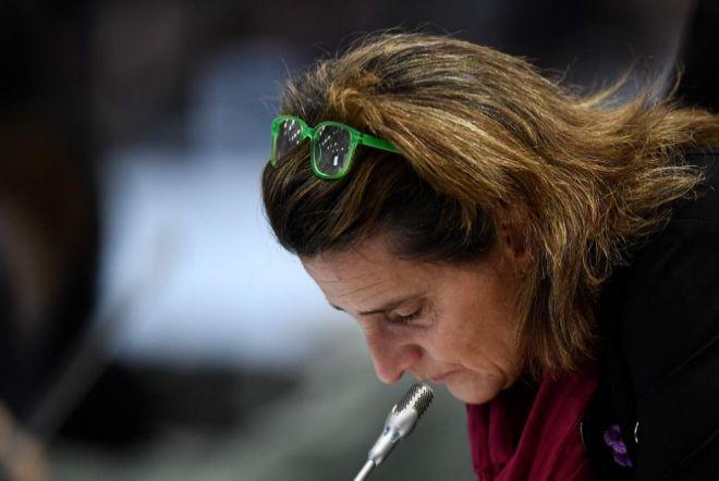 Teresa Ribera, ministra para la Transición Ecológica, esta mañana en el plenario