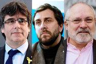 Combo del ex presidente de la Generalitat Carles Puigdemont, ex conseller de Sanidad Antoni Comín y ex diputado por JxCat Lluís Puig