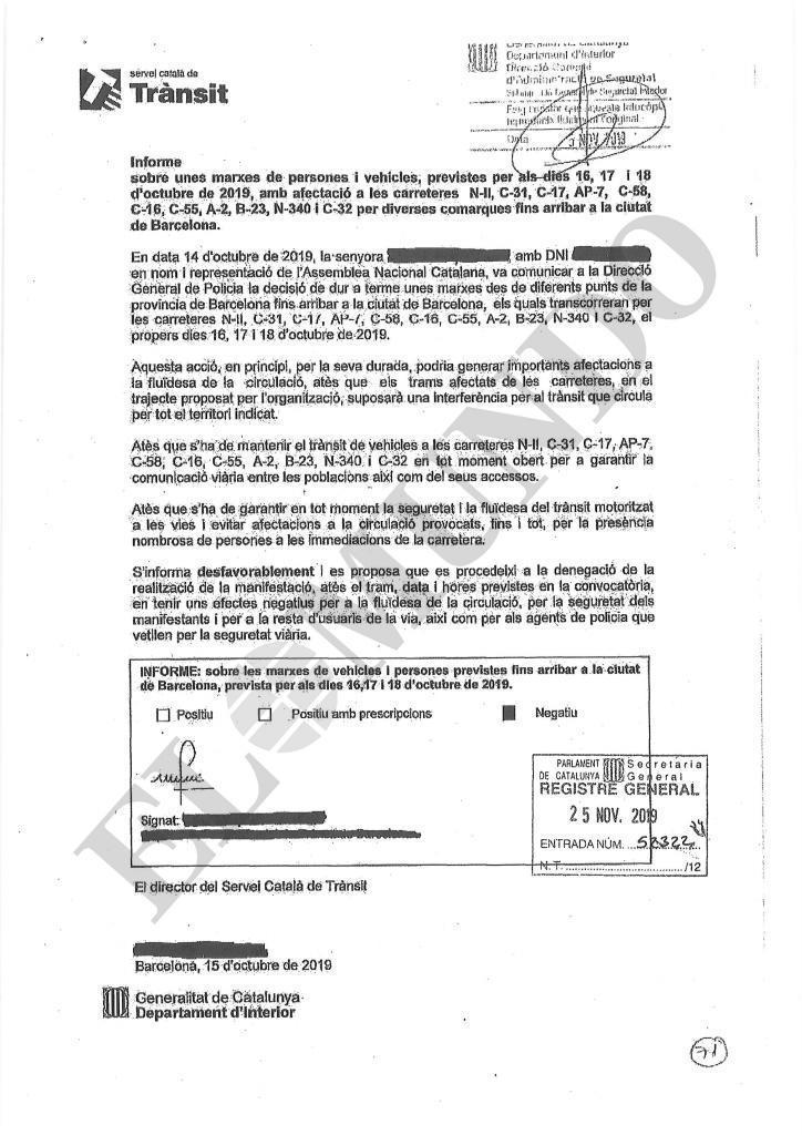 Informe remitido por el Servicio Catalán de Tráfico a la Generalitat el pasado 15 de octubre.