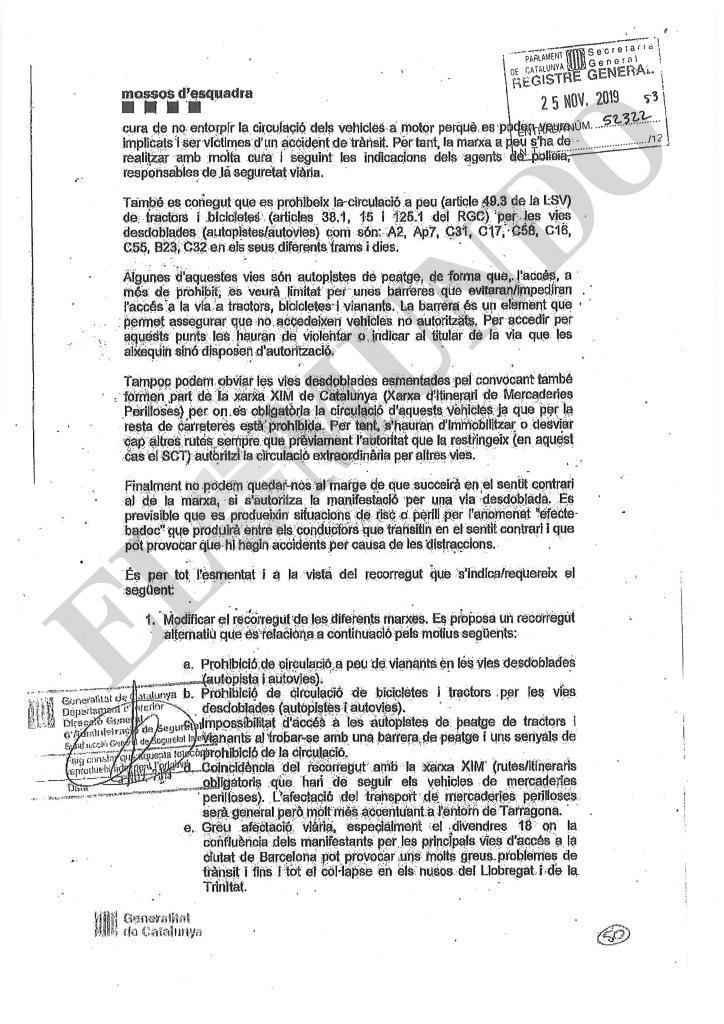 Informe remitido por los Mossos al Govern, el pasado 15 de octubre.