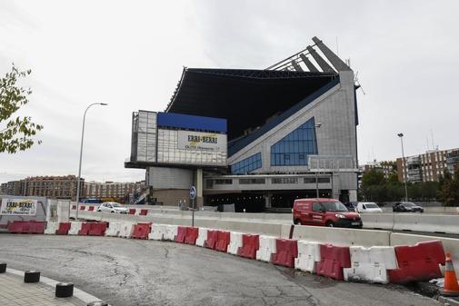 Obras de la M30 a su paso por el estadio Vicente Calderón