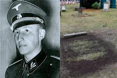 Reinhard Heydrich y su tumba profanada en el cementerio berlinés de Invalidenfriedhof.