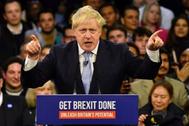El prmer ministro británico, Boris Johnson, en un acto de campaña.