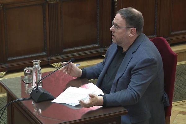El líder de ERC, Oriol Junqueras, en el juicio al 'procés', en el...