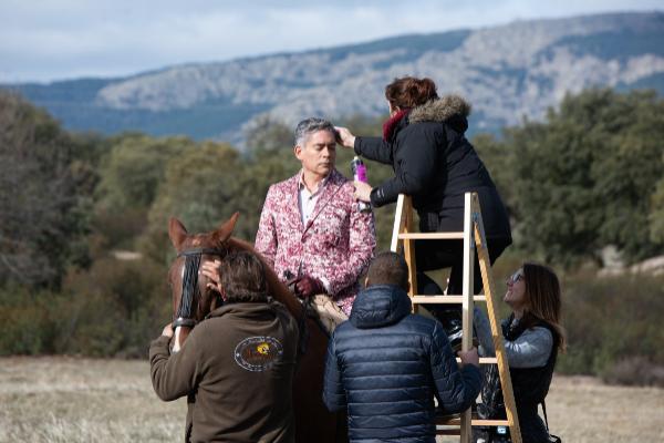Boris Izaguirre, durante la grabación del anuncio de Navidad de Campofrío.