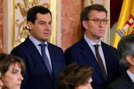 Los presidentes de Andalucía y Galicia, en el Congreso por la celebración del Día de la Constitución el pasado 6 de diciembre.