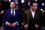 Valverde (izda) y Contador, en la presentación de la Vuelta.