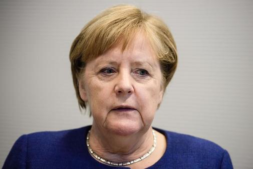 La canciller alemana Angela Merkel  en una entrevista con el...