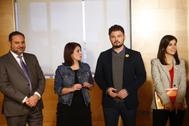 José Luis Ábalos, Adriana Lastra, Gabriel Rufían y Marta Vilalta, en una de las reuniones del PSOE y ERC para la investidura.
