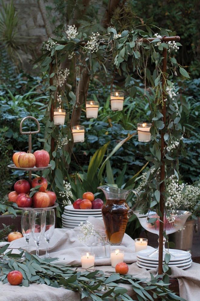Decoración con manzanas y velas de Cerabella