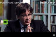 El ex presidente catalán huido, Carles Puigdemont, en un momento de la entrevista concedida a la televisión estatal rusa.