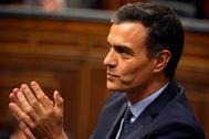 El presidente del Gobierno en funciones, Pedro Sánchez, en la sesión constitutiva de las Cortes.