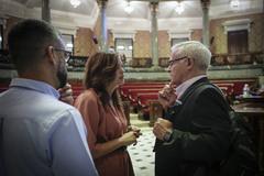 Sandra Gómez y Joan Ribó en el Ayuntamiento de Valencia.