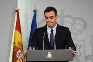 El presidente del Gobierno Pedro Sánchez en una rueda de prensa en Moncloa.