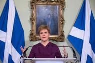 La ministra principal de Escocial, Nicola Sturgeon, en su residencia oficial, Bute House, en Edimburgo.