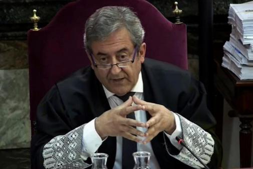 El fiscal Javier Zaragoza, durante el juicio del 1-O en el Tribunal...