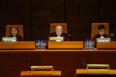 Los magistrados del Tribunal de Justicia de la UE, durante la lectura de la sentencia.