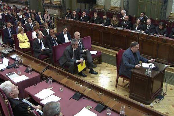 El ex vicepresidente catalán Oriol Junqueras, en un su declaración...