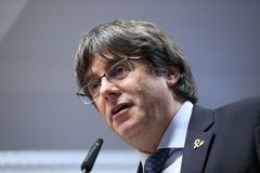 Former Catalan president Carles <HIT>Puigdemont</HIT> holds a press conference after the European Court of Justice ruled independence activist Oriol Junqueras has the right to be a Member of the European Parliament on December 19, 2019. . at the Delegation of the Government of Catalonia to the European Union in Brussels on December 19, 2019. - Catalan separatist leaders won a dramatic victory in Europe's top court on December 19, 2019, with a ruling that even jailed MEPs enjoy parliamentary immunity. The European Court of Justice ruled that Spain should have released independence activist Oriol Junqueras from prison to allow him to take office after May's European elections. The judgement also appears to clear the way for two Catalan leaders who sought refuge in Belgium to seek to take up their seats in the European Parliament. (Photo by Aris Oikonomou / AFP)
