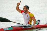 Saúl Craviotto celebra una de sus medallas en Río.