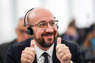 El presidente del Consejo Europeo, Charles Michel, gesticuliza durante una sesión en Estrasburgo.