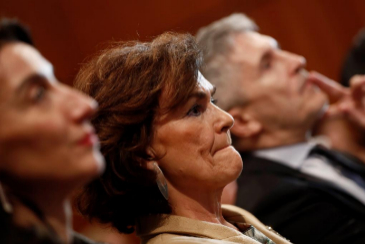La vicepresidenta del Gobierno en funciones, Carmen Calvo, junto al ministro del Interior, Fernando Grande-Marlaska, en un acto, este jueves, en Madrid.