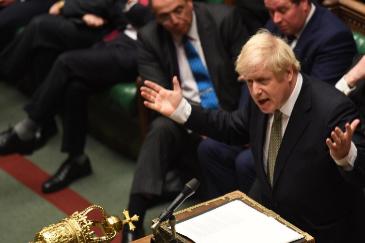 Boris Johnson hoy en el Parlamento Británico.