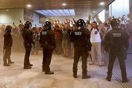 Aeropuerto de El Prat durante los disturbios.