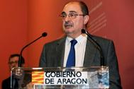 El presidente aragonés, Javier Lambán, en una comparecencia pública, el pasado 13 de diciembre.