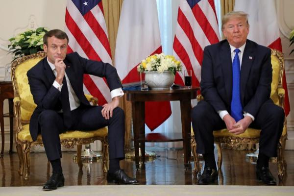 Emmanuel Macron, presidente de Francia, y Donald Trump, de EEUU, en la...