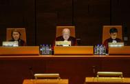 El presidente del Tribunal de Justicia europeo, Koen Lenaerts, en un momento de la lectura de la sentencia sobre Oriol Junqueras.