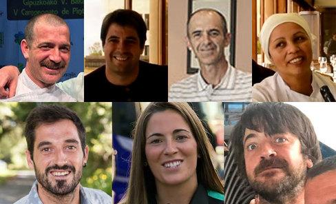 De izquierda a derecha y de arriba abajo: Zigor, Martín, Eneko, María, Joseba, Amaia y Karlos Arguiñano hijo.