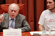 Jordi Pujol, en febrero de 2015, durante su declaración en la comisión de investigación del Parlament.