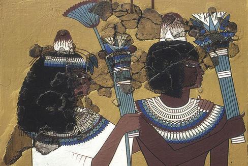 Representación de los conos en un mural de una capilla privada en la villa de los trabajadores de Amarna