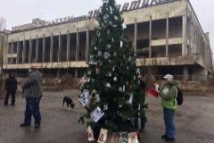 Árbol de Navidad en Prípiat, junto a Chernóbil