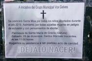 La convocatoria difundida en redes sociales por el grupo municipal de Vox en Gelves.