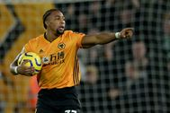 Wolverhampton (United Kingdom), 07/12/2019.- Wolverhampton's Adama <HIT>Traore</HIT> celebrates scoring a goal during the English Premier league soccer match between Wolverhampton Wanderers and Manchester City held at the Molineux stadium in Wolverhampton, Britain, 27 December 2019. (Reino Unido) EPA/ EDITORIAL USE ONLY. No use with unauthorized audio, video, data, fixture lists, club/league logos or 'live' services. Online in-match use limited to 120 images, no video emulation. No use in betting, games or single club/league/player publications