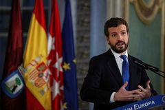 El líder del PP, Pablo Casado, durante un desayuno informativo en Madrid.