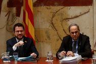 El vicepresidente de la Generalitat, Pere Aragonès, y el presidente, Quim Torra.